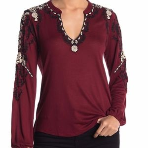 NWT Lucky Brand Embroidered Sleeve Peasant Top